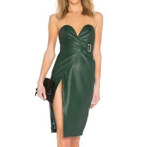 H:ours Doria Leather Dress in Forest